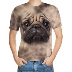 Pug Köpek Desenli 3D Tişört
