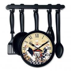 Black Renk Kaşık Kepçe Desen Mutfak Saati