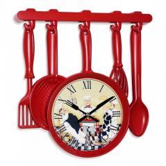 Red Renk Kaşık Kepçe Desen Mutfak Saati