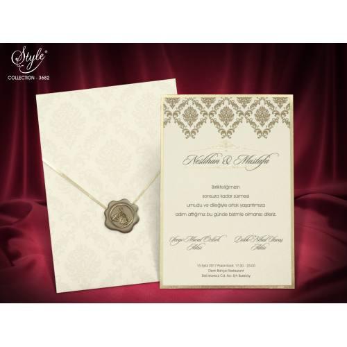Style Lüks Düğün Kartı 3682