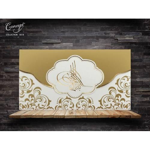 Tuğra desenli düğün kartı - Concept 5518